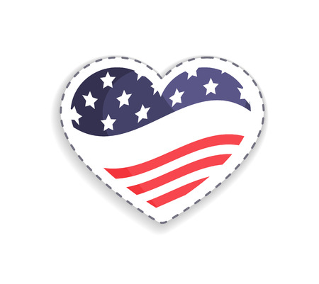 Old Glory placed in heart shaped figure, stripes and stars symbolic signs of USA, Union Glory celebration day vector illustration isolated on white 일러스트
