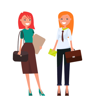 Colleagues elegant businesswomen pretty redhead girls in formal wear discussing business issues vector illustration of executive managers isolated Stock Vector - 111561283
