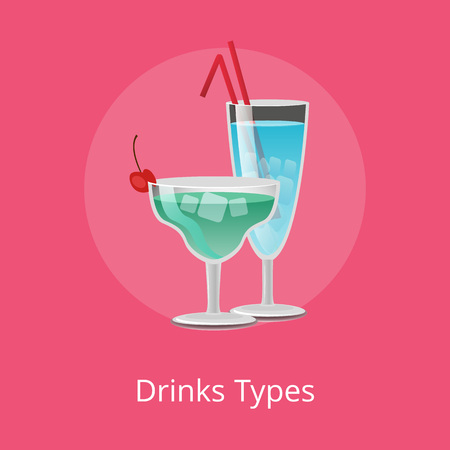Drink types alcohol drink tropical refreshing cocktails decorated by red berry, summertime margarita and Blue Lagoon with straws vector illustrations Фото со стока - 111561291