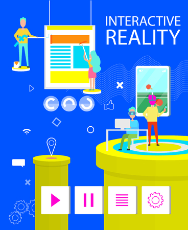 Interactive Reality Poster of Virtual Application Vectores