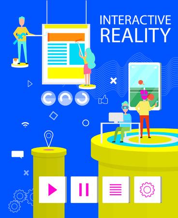 Póster de realidad interactiva de aplicación virtual