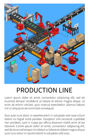 Production line conveyor for smartphones creation vector illustration with text sample, robots doing various work, automation gadgets manufacturing 일러스트