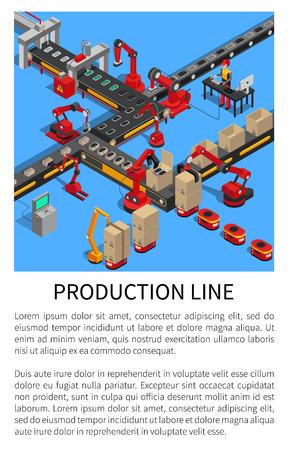 Trasportatore della linea di produzione per la creazione di smartphone illustrazione vettoriale con campione di testo, robot che svolgono vari lavori, produzione di gadget di automazione Vettoriali