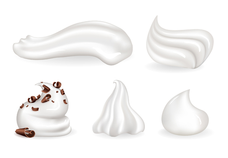 Whipped cream clean and with chocolate crumbles. Sweet topping for desserts. Dairy product of creamy cositance isolated vector illustrations set.