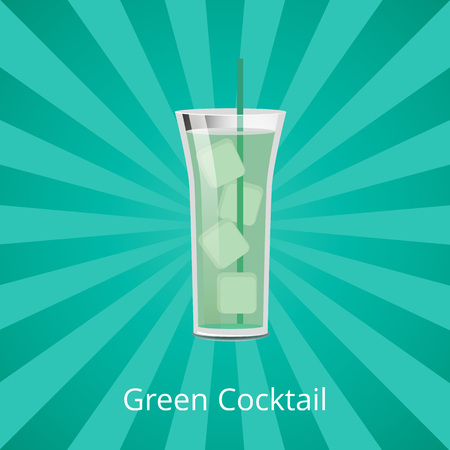 Green cocktail with ice cubes vector illustration refreshing drink with straw isolated on background with rays, summertime beverage icon flat style