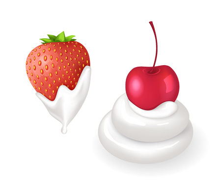Tasty strawberry and cherry in fresh whipped cream set. Berries doused by delicious dairy product. Natural summer dessert isolated vector illustrations.