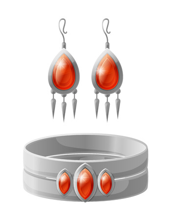 Jewelry collection earring with red gemstone, silver bracelet, elegant accessories set for rich ladies, vector illustration isolated on white background