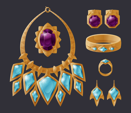 Jewelry accessory collection isolated on black, vector illustration of golden necklace with gems, shiny earrings set and expensive bracelet with ring