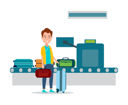 Luggage control in airport, man holding baggage close to conveyor with bags being examined by x-ray scanner, check isolated on vector illustration Stock Illustratie