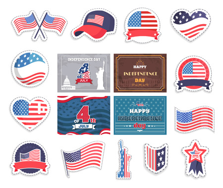 Fourth of july happy independence day in america, USA national holiday vector illustration, different patriotic symbols collection, american flags set Illustration