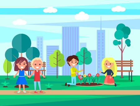 Niños que cuidan la naturaleza, plantan y protegen las flores en el parque, niños que caminan con sonrisas en las caras causadas por la ilustración de vector de vegetación