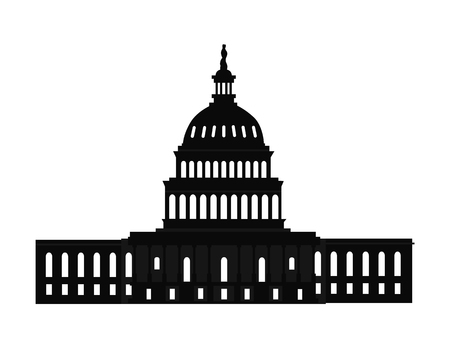 Washington capitol with tall columns black monochrome silhouette isolated. Old world famous architectural attraction constructed of marble vector