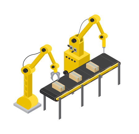 Box production line and tools for creating items, automated tools process with equipments accuracy, vector illustration isolated on white background