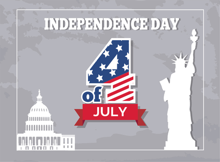 Independence Day 4 of July poster, American Statue of Liberty and Washington capitol. Monument represented by woman in crown with torch and parchment