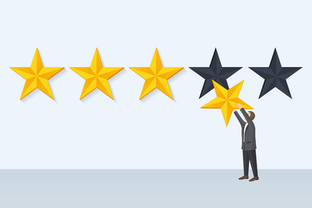 Businessman holds star fixing rank, giving own opinion and rate of something, report and positive feedback, customer satisfaction vector illustration Stockfoto - 111561312