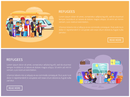 Refugees try to leave country by train web pages. Arab people at railway station and in comfortable compartment online banners vector illustrations.