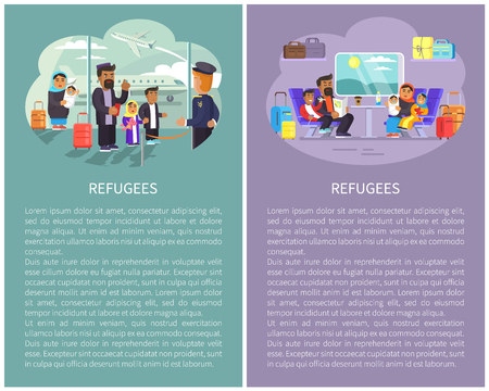 Refugee banners collection, people at airport ready to boarding, family sitting inside of train cabin, luggage on shelves vector illustration posters set