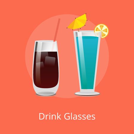 Drink Glasses Vodka Cola and Blue Lagoon Cocktails Иллюстрация