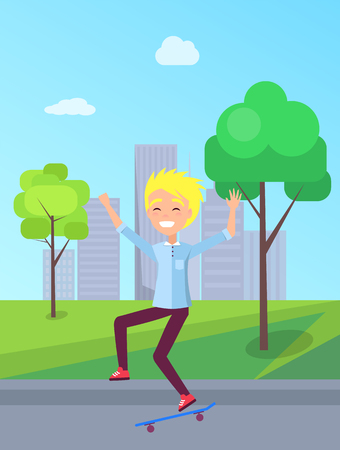 City hobby skateboarding, teenager with skateboard at street, trees and buildings with clouds, spending leisure time outdoors vector happy childhood