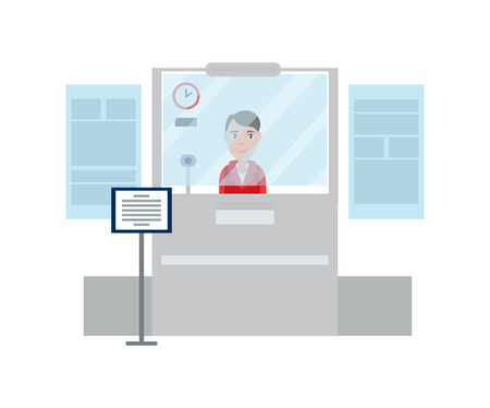 Worker lady passport control counter, glass room and clock on wall, woman wearing uniform working in airport, vector illustration isolated on white 일러스트