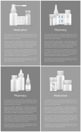 Pharmacy and Medication Set Web Posters Containers Illustration