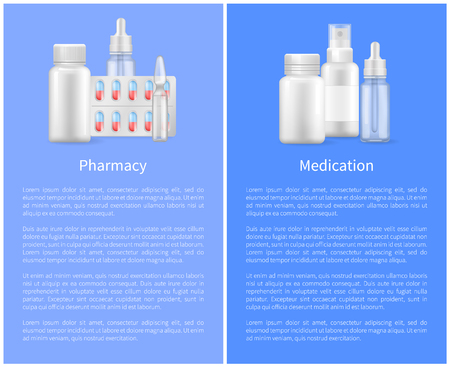 Pharmacy Poster with Containers for Medical Pills Ilustrace