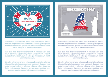 Independence Day 4 of July poster, American Statue of Liberty and Washington capitol, heart shaped label. Greeting cards symbols of USA, patriotic vector