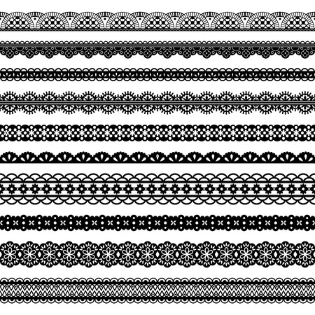 Collection of horizontal laces, black seamless borders for design. Dark laced silhouette isolated on white. Vector decorative stripes stylized tapes