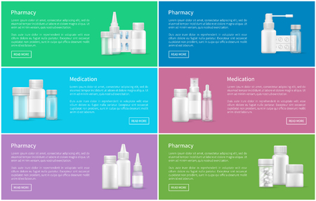 Pharmacy and Medication Set Web Posters Containers