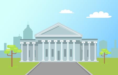 Capitole de Washington avec de hautes colonnes avec de l'herbe verte et une route sur fond de ville. Attraction architecturale de renommée mondiale construite en vecteur de marbre