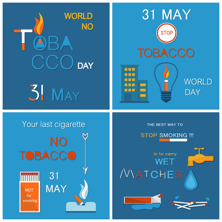 31 May world no tobacco day promo posters. Anti cigarette and cigar smoking agitation holiday banners minimalistic cartoon vector illustrations set.