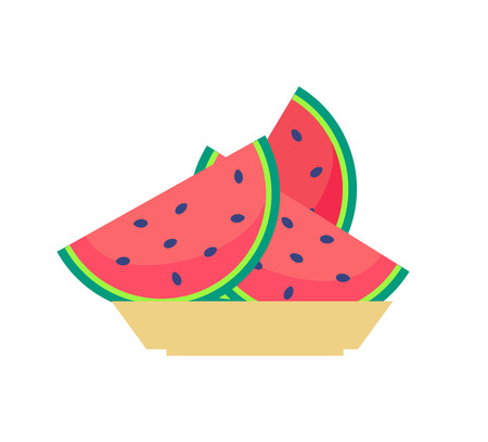 Slices of watermelon on plate, sweet organic fruit with black seeds vector illustration isolated. Refreshing summer food, heakthy eating concept Illustration