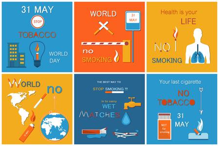 World no Tobacco Day Posters Set Globe Lungs Smoke Ilustração Vetorial