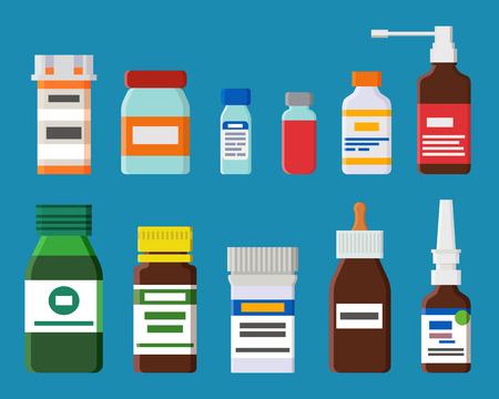 Ampoules and bottles collection, containers for storage of medical products with labels, emblems vector illustration, isolated on blue background