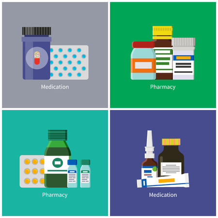 Medication and Pharmacy Set Vector Illustration
