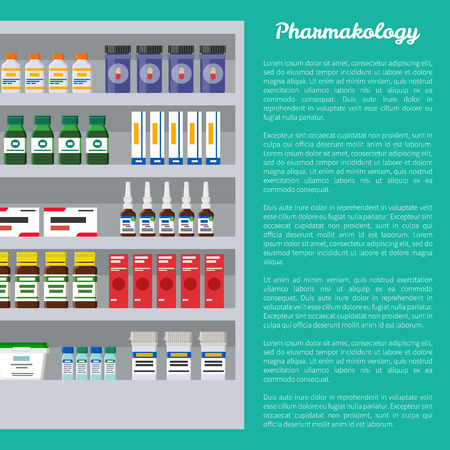 Pharmacology poster and text sample, medication products placed on shelves of refrigerator, storage preservation, isolated on vector illustration Illustration