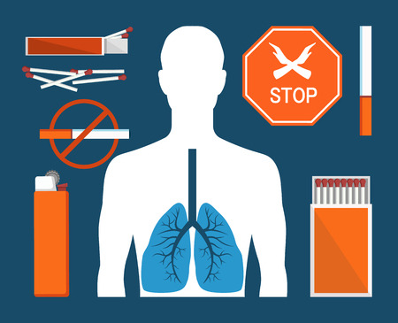 Stoppen Sie das Rauchen des bunten Plakats der Tabakzigaretten mit den Sucht-Symbolen der Verhinderungszigarren, Vektorillustration des menschlichen Körpers mit Lungen, Streichhölzer Vektorgrafik