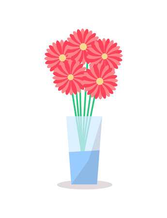 Flowers in glass vase icon vector decorative element isolated on white. Bouquet of five blooming red buds yellow in center in water-glass bowl, decor object