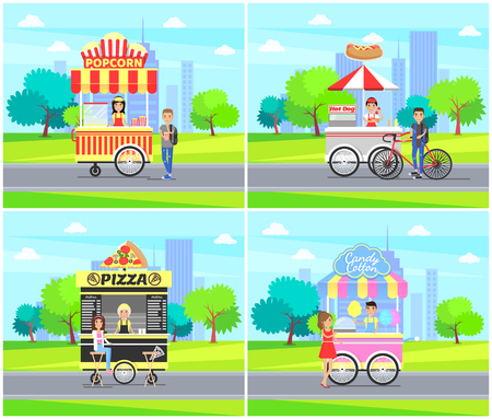 Hot dog and pizza street sellers set, cotton candy, popcorn stall, city park food services for people walking calmly, collection vector illustration Stock Illustratie