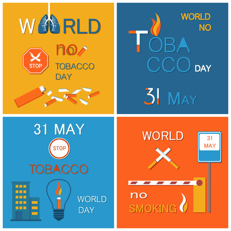 World no tobacco day stop smoking 31 may banner, set of vector illustrations with house and lamp icon, flag-ends pile and road symbols, crossed cigars