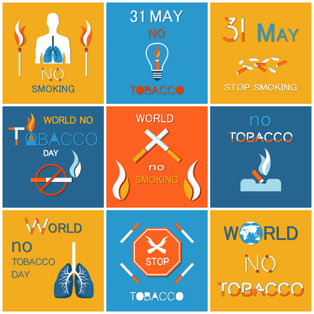 World no tobacco day banners dedicated to refuse from nicotine usage, stop harmful habit, reduce from addiction concept . 31 may last cigarette posters set. Illustration