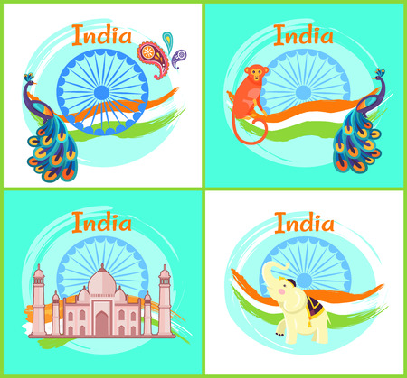 India Cultural Symbols Set Vector Illustration