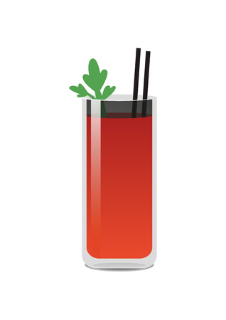 Cute cocktail with two straws colorful banner, vector illustration with bright red liquid in glass with reflections, mint leaf, isolated on white
