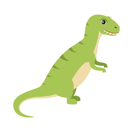 Dinosaur with small hands and strong sharp teeth, t-rex baby long tail, prehistoric creature vector illustration, isolated on white background