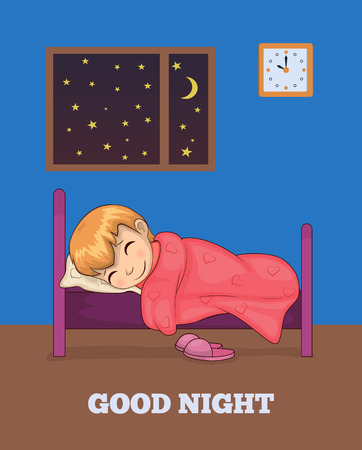 Good Night Poster with Girl Sleeping in Bed Vector