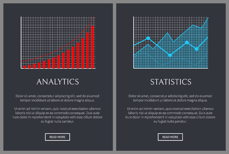 Analytics and statistics charts on web pages. Graphics of bars with lines that represent analytical statistical data vector illustrations set.