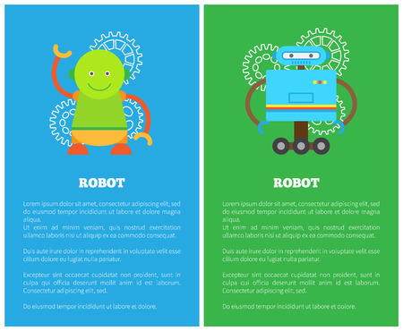 Robot with smile collection, bots or gears, friendly cyborgs and text sample under headlines, set of banners, colorful isolated vector illustration.