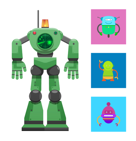 Robot with Radar Collection Vector Illustration