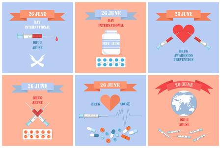 Carteles de concientización sobre el abuso de drogas Día internacional el 26 de junio con jeringas en el corazón, prevención del uso de narcóticos, símbolos de adicción, promoción de parada, vector Ilustración de vector