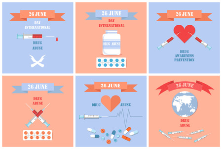 Drug abuse awareness posters International day on 26 June with syringes in heart, prevention narcotic use, addiction symbols, stop promotion, vector Banque d'images - 111530964